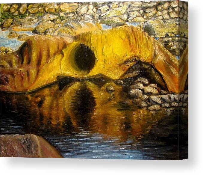 Landscape Canvas Print featuring the painting Stones Ocoee River In Tennessee Landscape Original Oil Paintings by Natalja Picugina