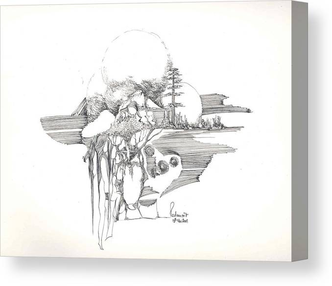 Rocks Canvas Print featuring the drawing Surrealscape 4 by Padamvir Singh