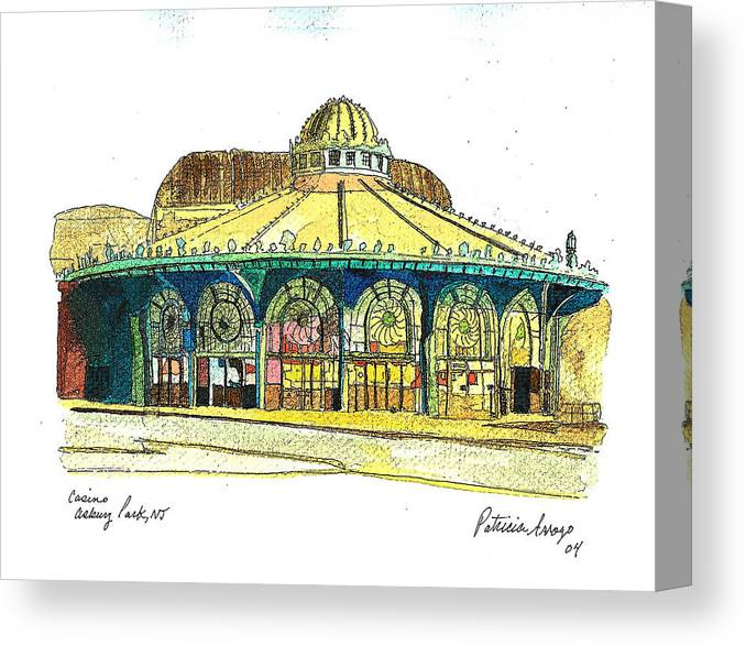 Asbury Art Canvas Print featuring the painting The Asbury Park Casino by Patricia Arroyo