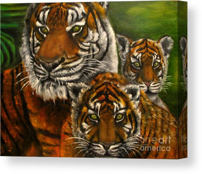 Animals Canvas Print featuring the painting Tigers Family Oil Painting by Natalja Picugina