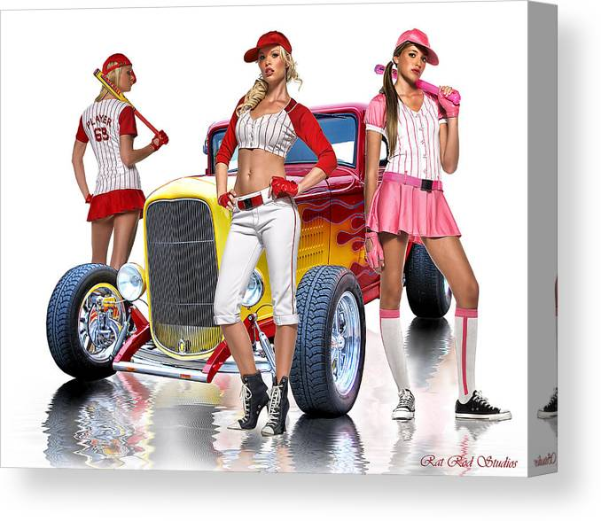 Hot Rod Canvas Print featuring the digital art Time To Play Ball .... by Rat Rod Studios