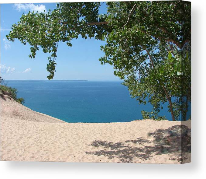 Sleeping Bear Dunes Canvas Print featuring the photograph Top Of The Dune At Sleeping Bear by Michelle Calkins