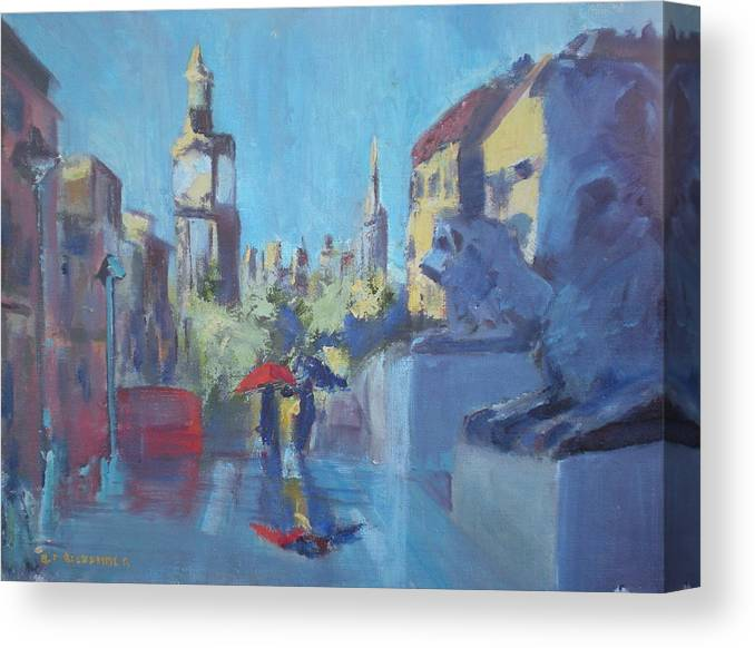 Famous Travel Canvas Print featuring the painting Trafalgar Square by Bryan Alexander