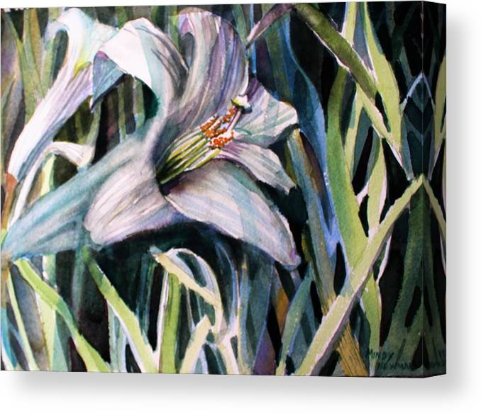 Lily Canvas Print featuring the painting Trumpet Lily by Mindy Newman
