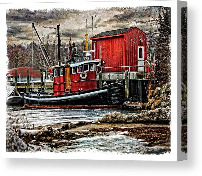 Tug Canvas Print featuring the photograph Tug On Ice 2fa by Richard Xuereb