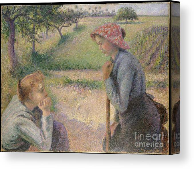 Two Young Peasant Women Canvas Print featuring the painting Two Young Peasant Women by Celestial Images