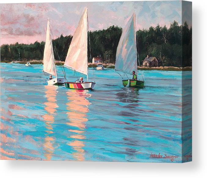 Actrylic Painting Canvas Print featuring the painting View From Rich's Boat by Laura Lee Zanghetti