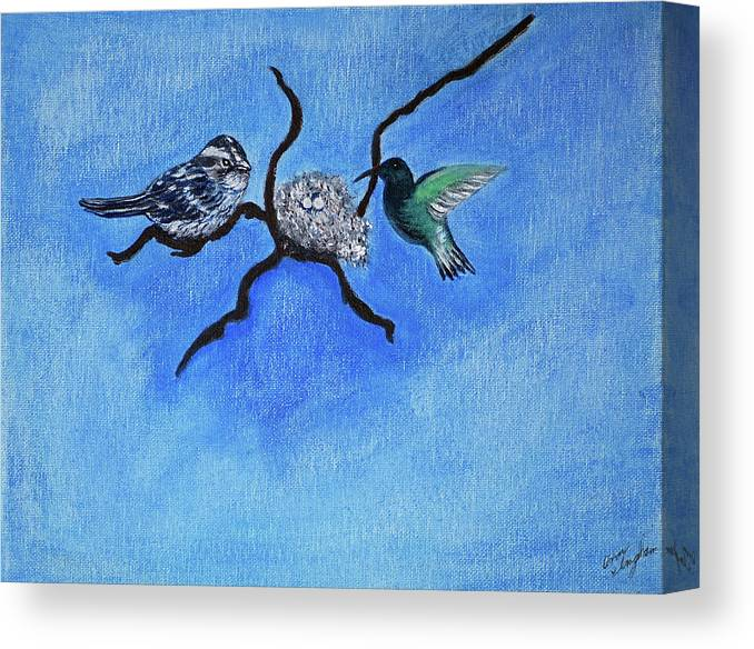Birds Canvas Print featuring the painting Waiting by Ann Ingham
