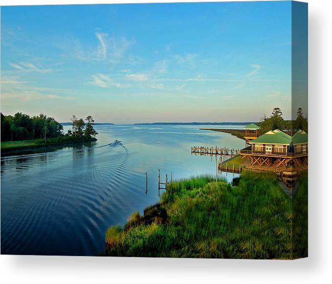 Weeks Bay Canvas Print featuring the painting Weeks Bay Going Fishing by Michael Thomas
