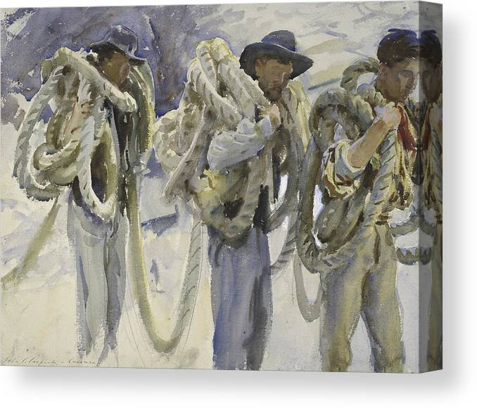 Sargent Canvas Print featuring the drawing Workmen At Carrara by John Singer Sargent