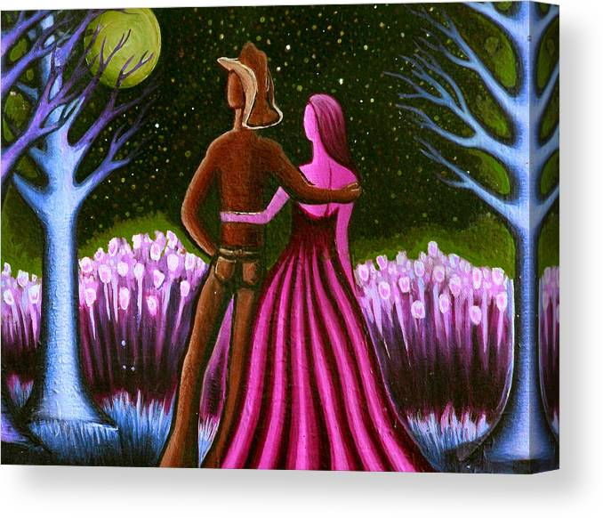Cowboy Canvas Print featuring the painting Wrangler's Moon II by Brenda Higginson