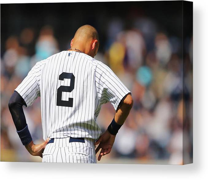 People Canvas Print featuring the photograph Cleveland Indians V New York Yankees 1 by Al Bello
