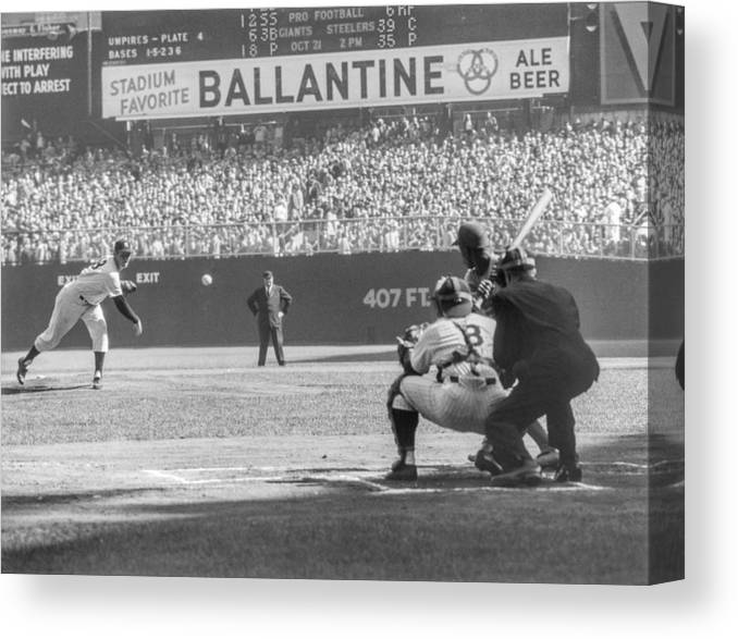 Baseball Catcher Canvas Print featuring the photograph 1956 World Series - Game 5 Brooklyn by The Stanley Weston Archive