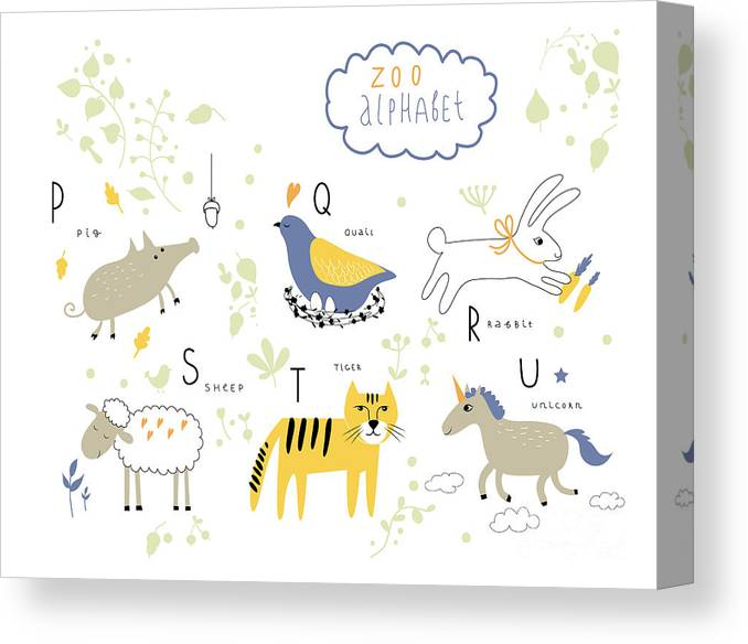 Typography Canvas Print featuring the digital art Cute Zoo Alphabet In Vector . P, Q, R by Lera Efremova