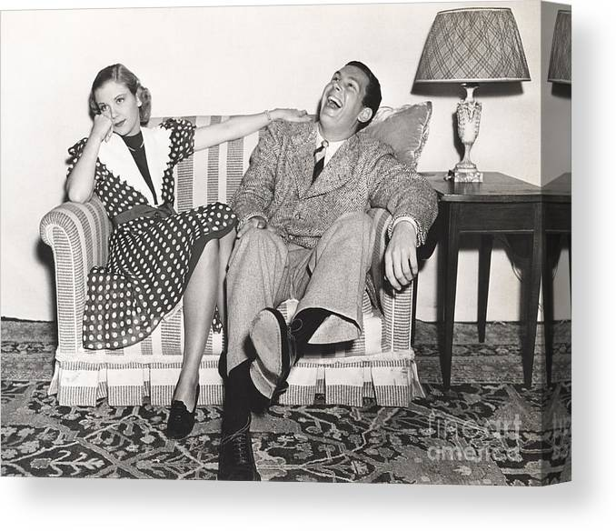 Dress Canvas Print featuring the photograph Laughing At His Own Jokes by Everett Collection