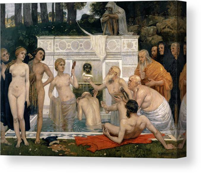 Hans Sandreuter Canvas Print featuring the painting The Fountain Of Youth by Hans Sandreuter