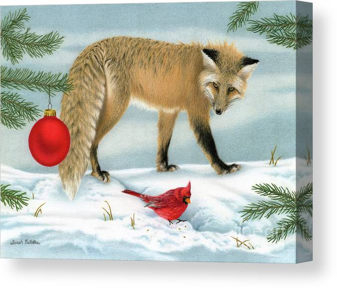 Christmas Canvas Print featuring the painting The Fox And The Cardinal by Sarah Batalka