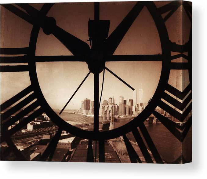 Suspension Bridge Canvas Print featuring the photograph Usa,new York City, Brooklyn Bridge And by Russell Kaye/sandra-lee Phipps
