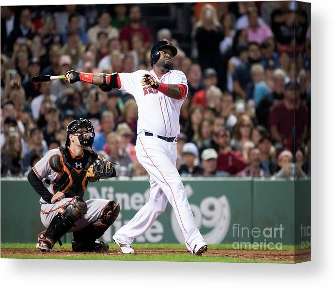 American League Baseball Canvas Print featuring the photograph David Ortiz by Michael Ivins/boston Red Sox