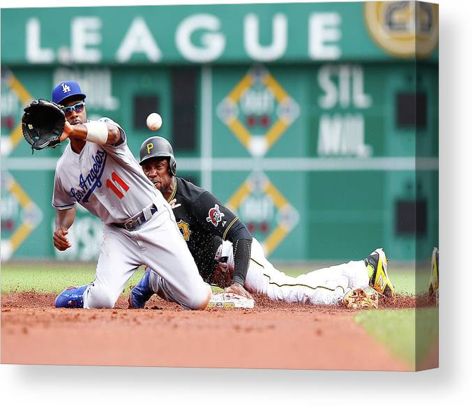 People Canvas Print featuring the photograph Jimmy Rollins And Starling Marte by Jared Wickerham