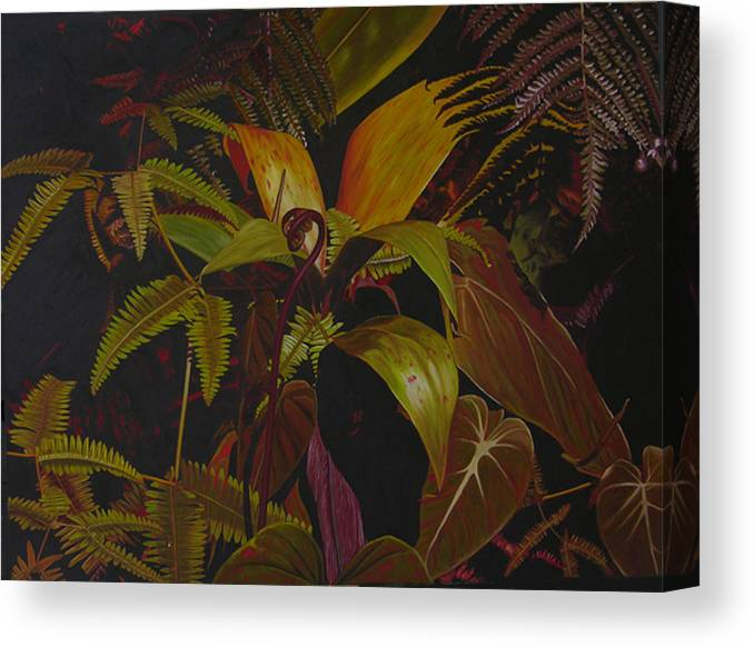 Plant Canvas Print featuring the painting Midnight In The Garden by Thu Nguyen