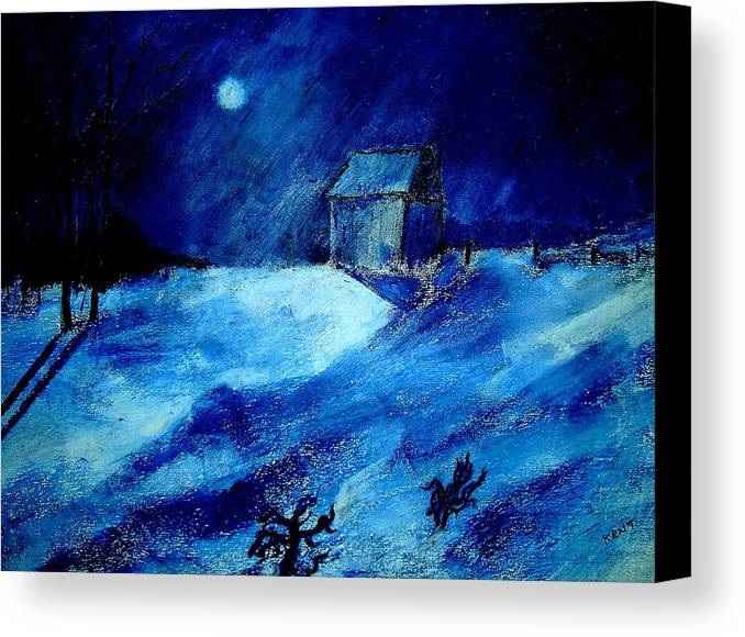Landscape Canvas Print featuring the painting Winter Moon by Kent Whitaker
