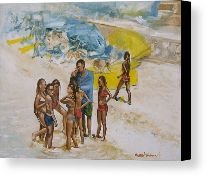 On The Beach Canvas Print featuring the painting Untitled by Howard Stroman