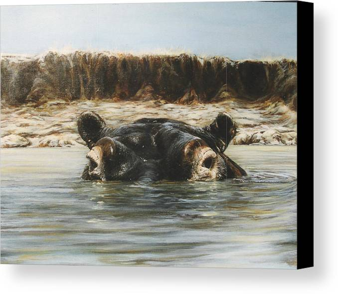 Wildlife Canvas Print featuring the painting Hippo by Steve Greco