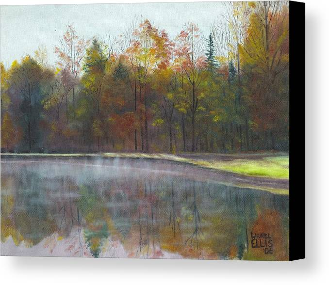 Landscape Canvas Print featuring the painting Kennison Pond by Laurel Ellis