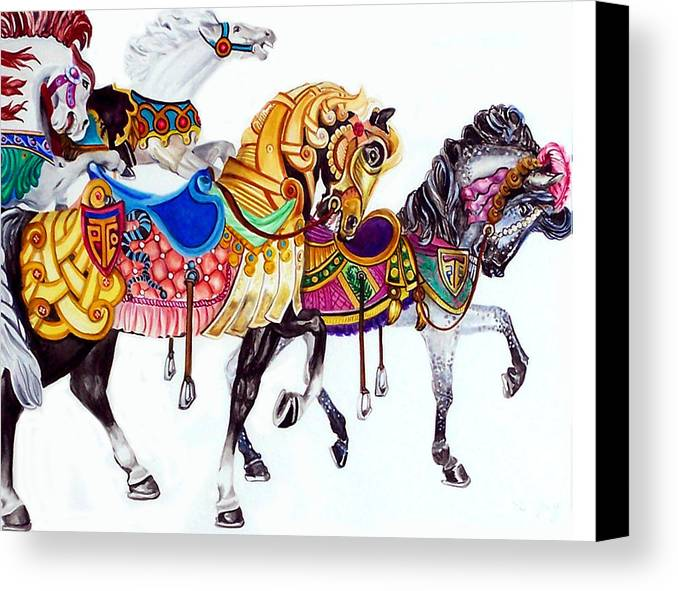 Horses Canvas Print featuring the print Parade by Bette Gray