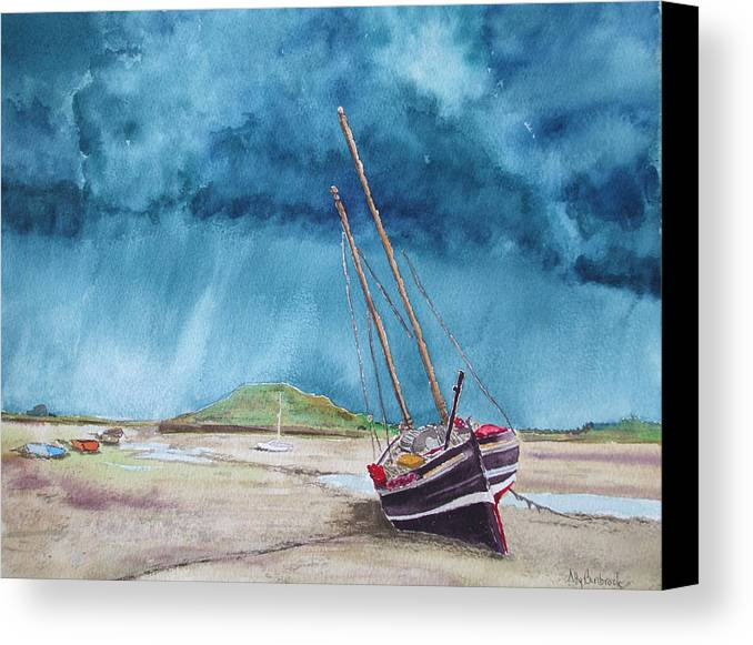 Ship Canvas Print featuring the painting Rainmaker by Ally Benbrook