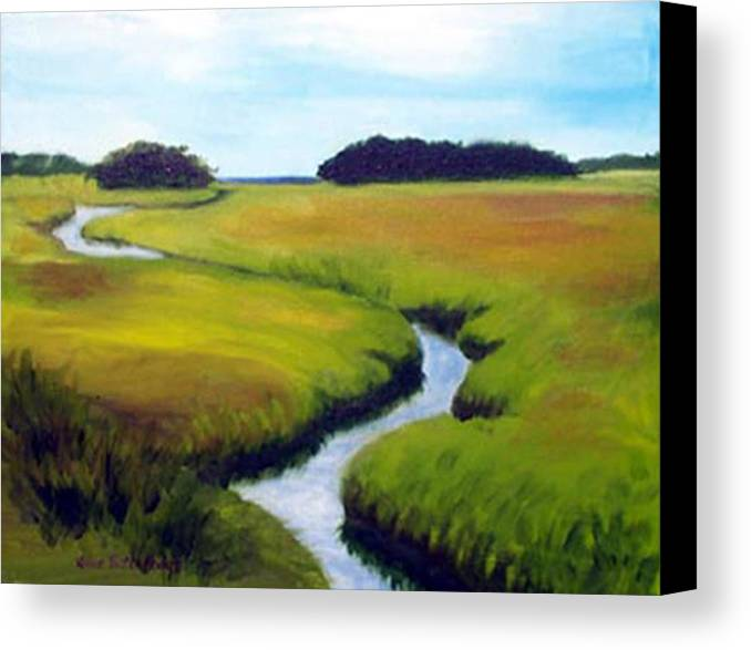 Landscape Canvas Print featuring the print Summer Marsh by Anne Trotter Hodge