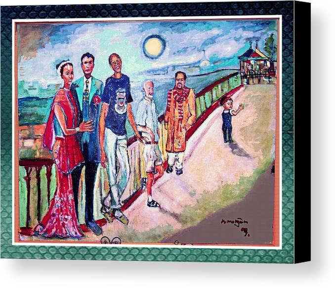 Diversity Canvas Print featuring the painting The Billerica Portrait by Noredin morgan