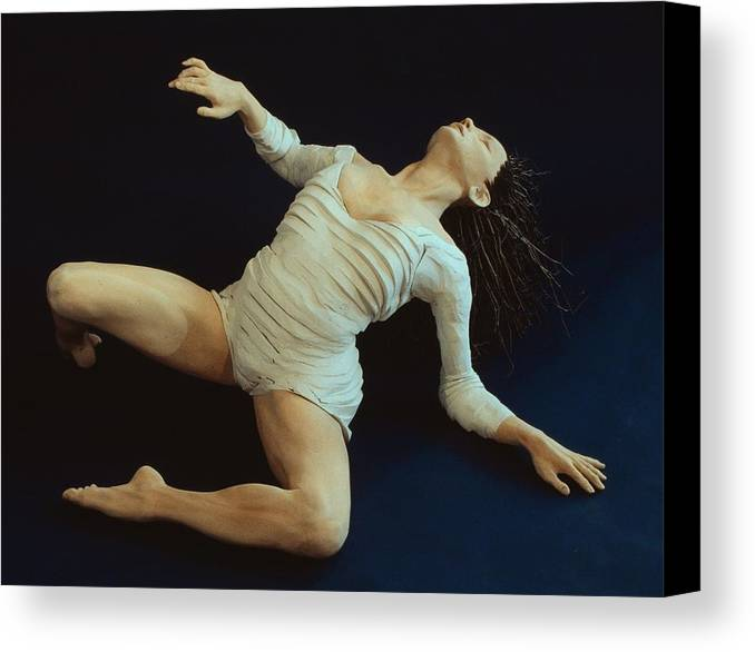 Dance Canvas Print featuring the sculpture White Dancer Left View by Gordon Becker