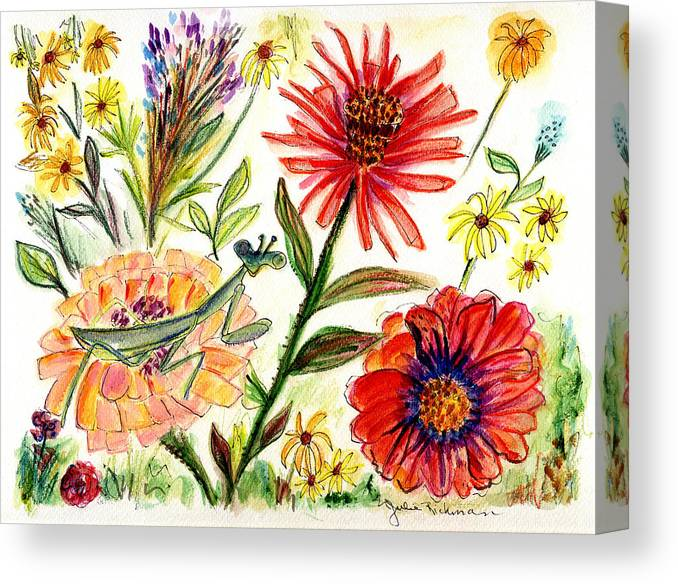Flowers Nature Botany Drawing Julie Richman Flora Pencil Canvas Print featuring the painting Praying Mantis Flowers54 by Julie Richman