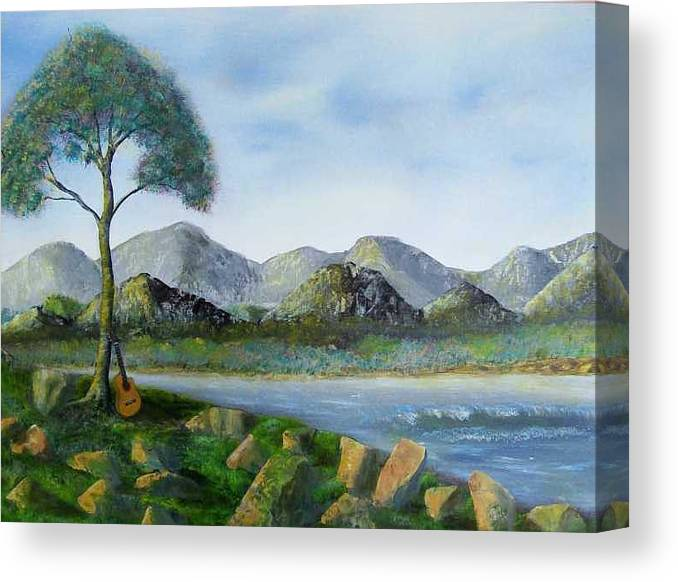 Landscapes Canvas Print featuring the painting Rock Concert by Tony Rodriguez