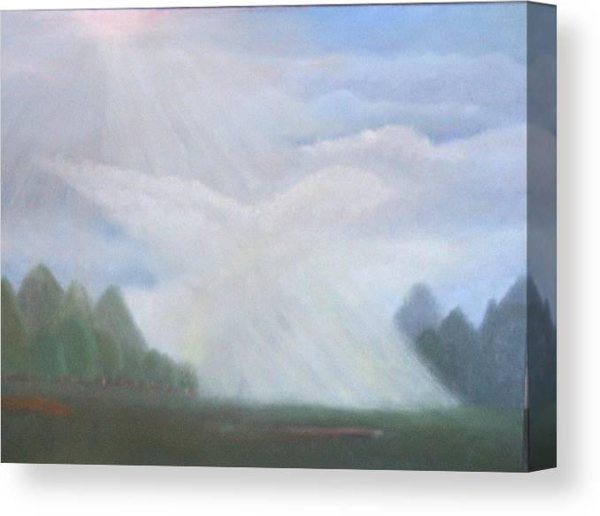 Doves Canvas Print featuring the painting The Dove Cloud by Rana Adamchick