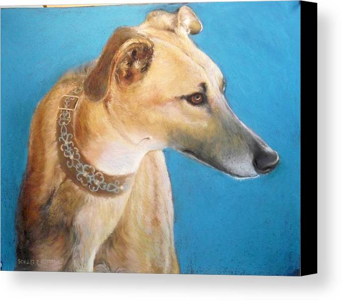 Dog Canvas Print featuring the pastel Tan Greyhound by Howard Scherer