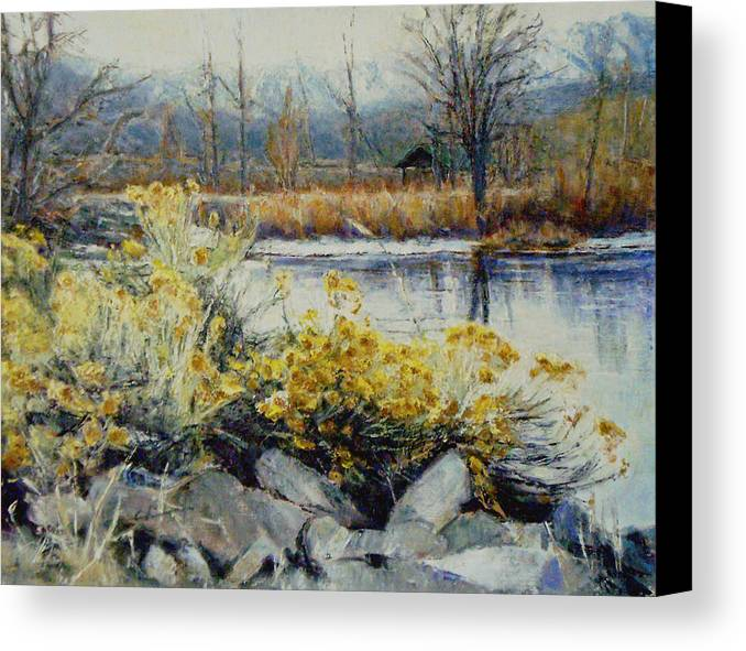 Canvas Print featuring the painting Winter Garden by Chisho Maas