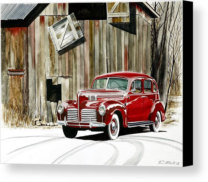 Hudson Canvas Print featuring the painting 1940 Hudson And Barn by Rick Mock
