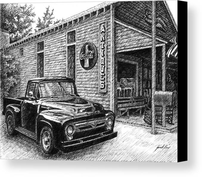 Ford Truck Canvas Print featuring the drawing 1956 Ford F-100 Truck by Janet King