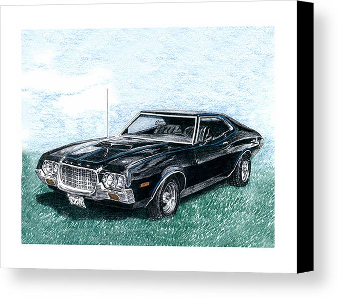 1972 Ford Gran Torino Sport Canvas Print featuring the drawing Ford Gran Torino Sport by Jack Pumphrey