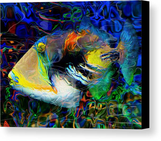 Tropical Canvas Print featuring the painting Below The Surface 4 by Jack Zulli