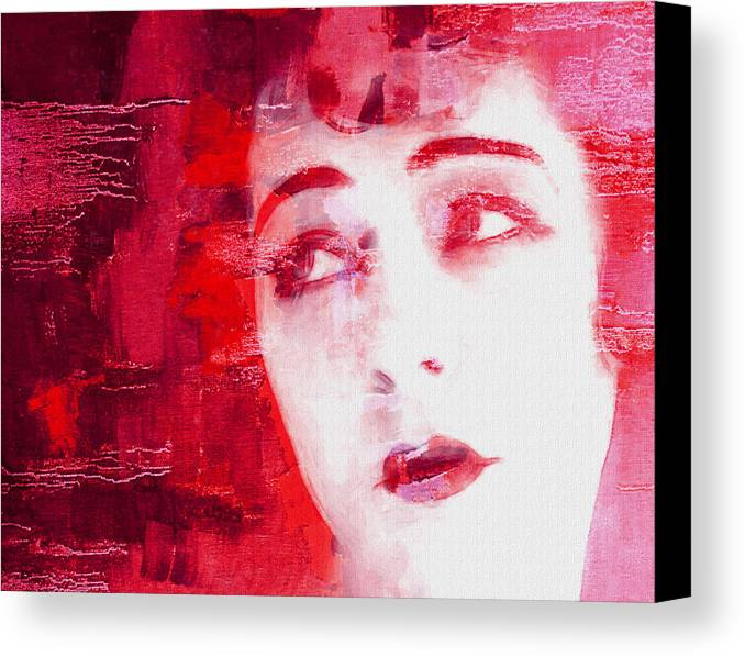 Look Love Lover Flapper Girl Female Woman Face Eyes Lips Beauty Erotic Actress Famous 20s Golden Times Painting Vintage Expressionism Impressionism Canvas Print featuring the painting The Look Of Love by Steve K