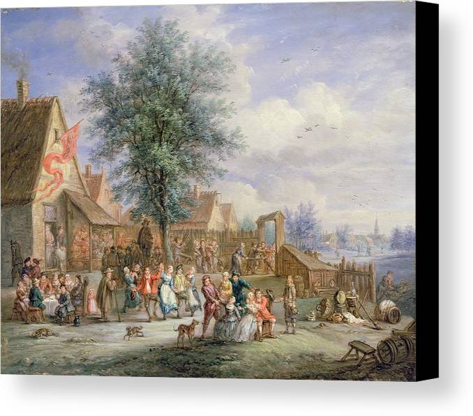 Village Canvas Print featuring the painting A Kermesse On St. Georges Day by Angel-Alexio Michaut
