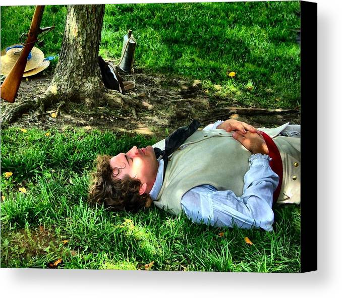 Revolutionary Soldiers Canvas Print featuring the photograph A Soldier's Rest by Julie Dant