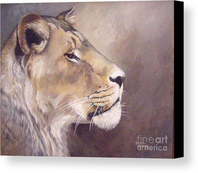 African Lioness Canvas Print featuring the painting African Lioness On Alert by Suzanne Schaefer