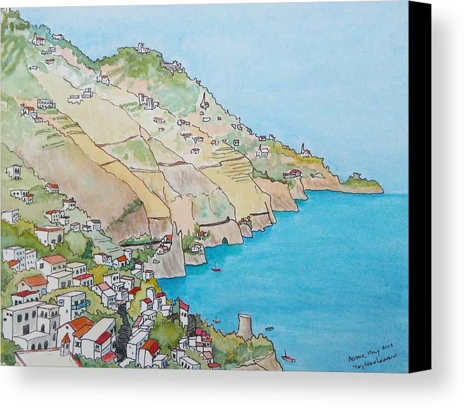 Landscape Canvas Print featuring the painting Amalfi Coast Praiano Italy by Mary Ellen Mueller Legault