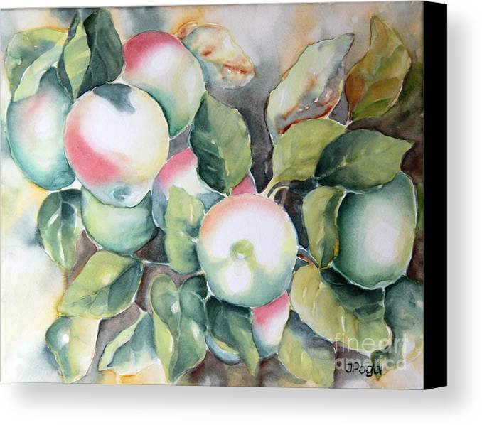 Apple Painting Canvas Print featuring the painting Apples by Inese Poga