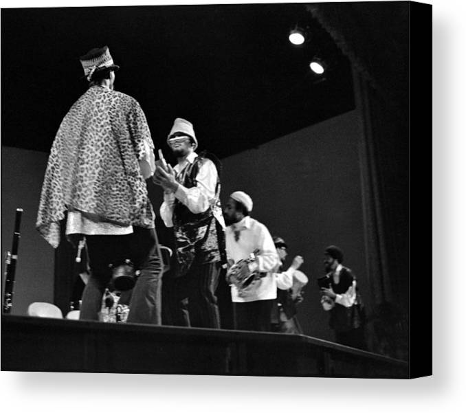 Sun Ra Arkestra At Freeborn Hall Canvas Print featuring the photograph Arkestra Procession 1968 by Lee Santa